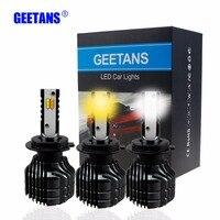 GEETANS 2pcs Auto Led Light Dual Color H7 9005 9006 H11 H4 Car Driving Fog Lights