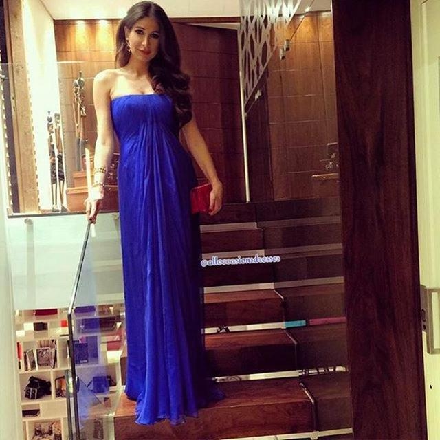 b93a95c655b95 Maternity Royal Blue Long Evening Dress For Pregnant Women Strapless Pleat  Chiffon Simple Party Dresses Floor Length kleider