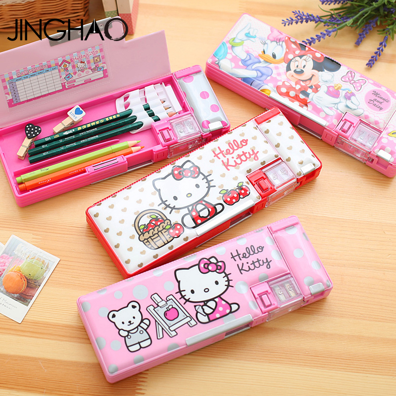 Fashion Kawaii Hello Kitty Pencil Case Multi_function Lager Space Pencil box For Student School Office Stationery