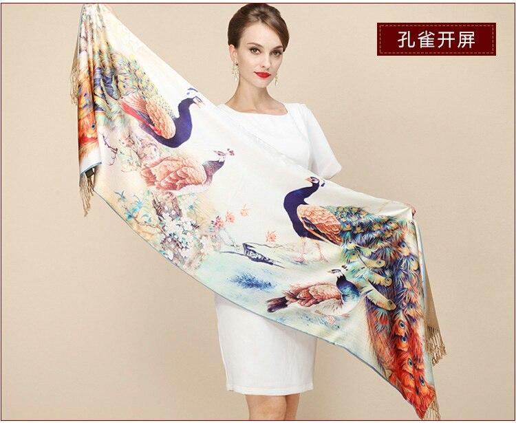 Luxury Brand Women Fashion Crane Painting Silk   Scarf   Pashmina Big Size Chinese Crane Print Real Silk   Scarf     Wraps