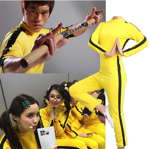 Image 3 - Adult Kids Bruce Lee Cosplay Jeet Kune Do Uniform Unisex Yellow Jumpsuit Chinese Kung Fu Training Suit Game of Death Costume
