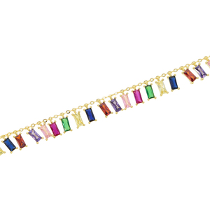 Image 2 - 2020 Gold plated colourful baguette rainbow CZ choker charm necklace for women lady party gift trendy gorgeous elegance jewelry