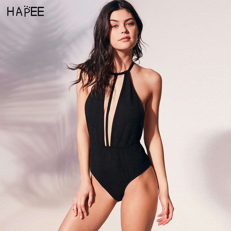 Solid Black Bakless Swimwear Deep V One Piece Swimsuit Sexy Strappy Monokini High Waist Bathing Suit maillot de bain femme 2017 2017 ruffle one piece swimsuit push up swimwear women sexy monokini solid bathing suit high cut beachwear maillot de bain femme page 7