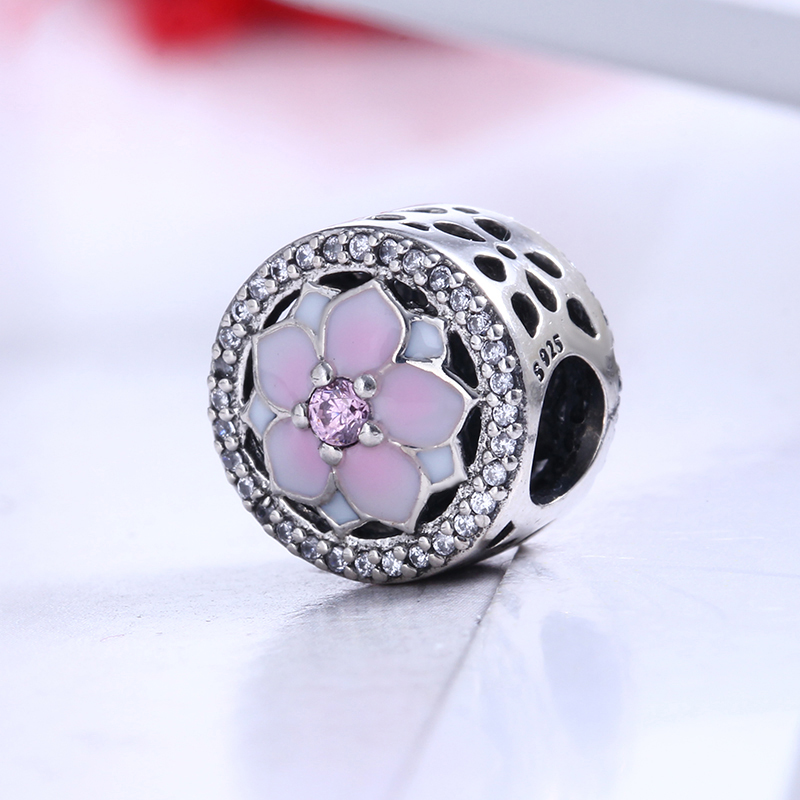 100% 925 Sterling Silver Fit Original Pandora Bracelet Magnolia Bloom Charm Clear CZ DIY Charm Beads for Jewelry Making
