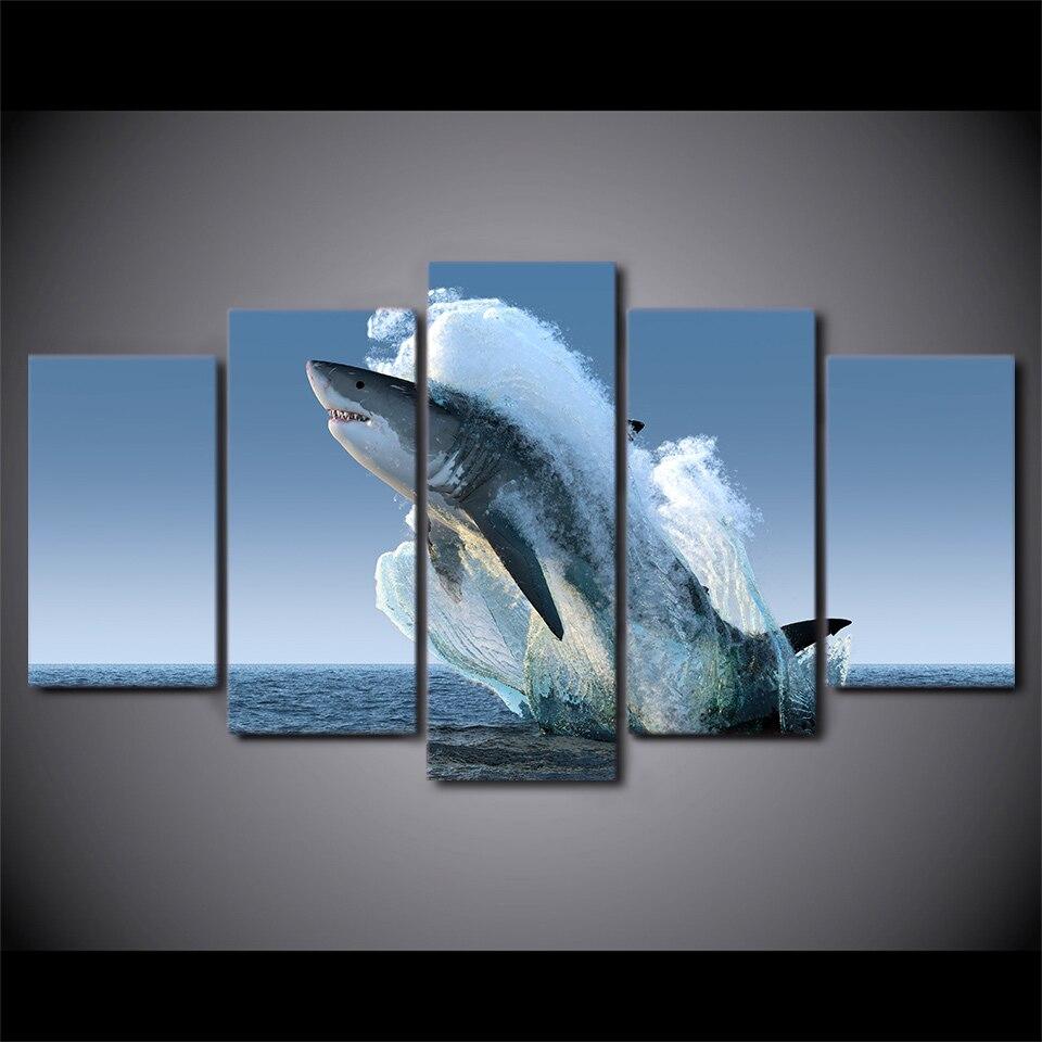 5 Panneau Saut Blanc Requin Toile HD Imprimé Affiche Cadre Peinture Modulaire Salon Mur Art Peinture Filles Chambre Décor