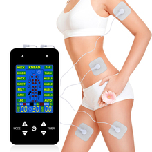 Masajeador de pulso electrónico con pantalla LCD EMS 15 modelos, 2 canales, para aliviar el dolor muscular, espalda y cuello
