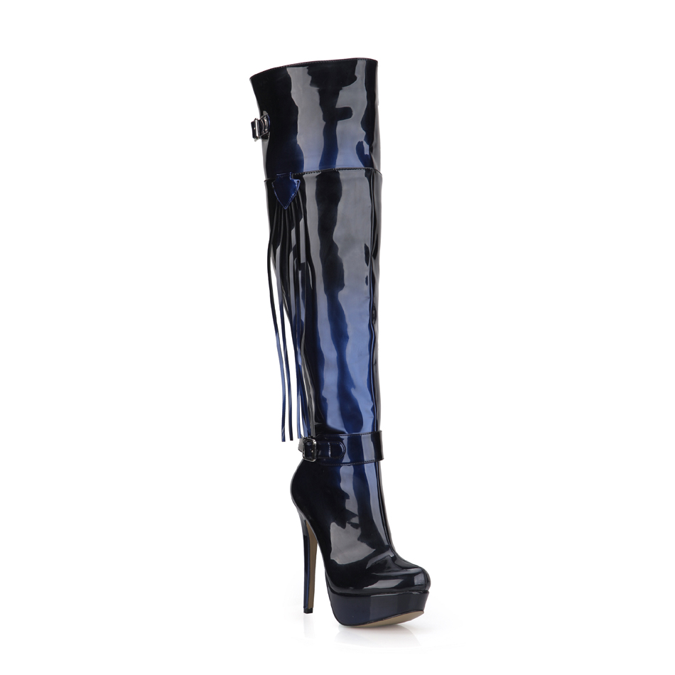 2016 Winter Blue Black Sexy Party Shoes Women Thin Heels Platform Tassel Buckle Lady Over-the-Knee Boots Zapatos Mujer 3463bt-u4