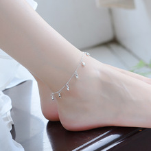 TJP Cute Rose Silver Anklets For Girl Party Jewelry New Fashion 925 Bracelets Women Bride Princess Wedding