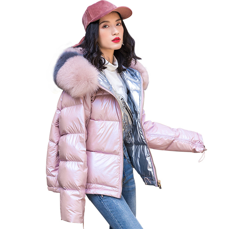 Real Natural Fox Fur 2019 Women's Winter Jackets White Duck   Down     Coat   Female Thick Warm   Coat   Top Quality   Down   Parka