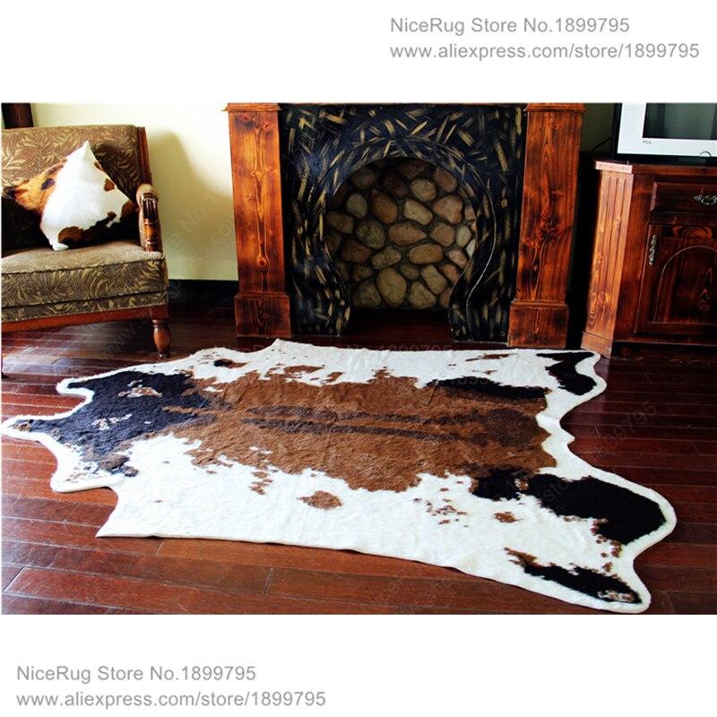 cow printed rug animal faux skin cowhide carpet big size 2x15m brown animal mat - Animal Skin Rugs