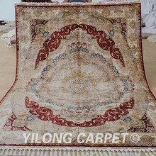 Yilong 6.6'x9.3' Antique persian tabriz silk carpet red hand knotted Turkish silk rug (1643)