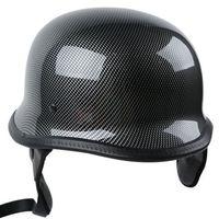 DOT Carbon Fiber WWII German Style Motorcycle Half Face Helmet Helmets For Cruiser ATV Chopper Biker Scooter M/L/XL 3