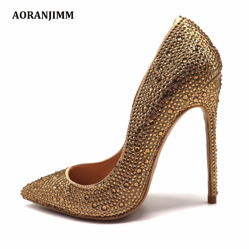 Free shipping real pic champagne stone gold crystal pointed toe women lady hot sale 120mm high
