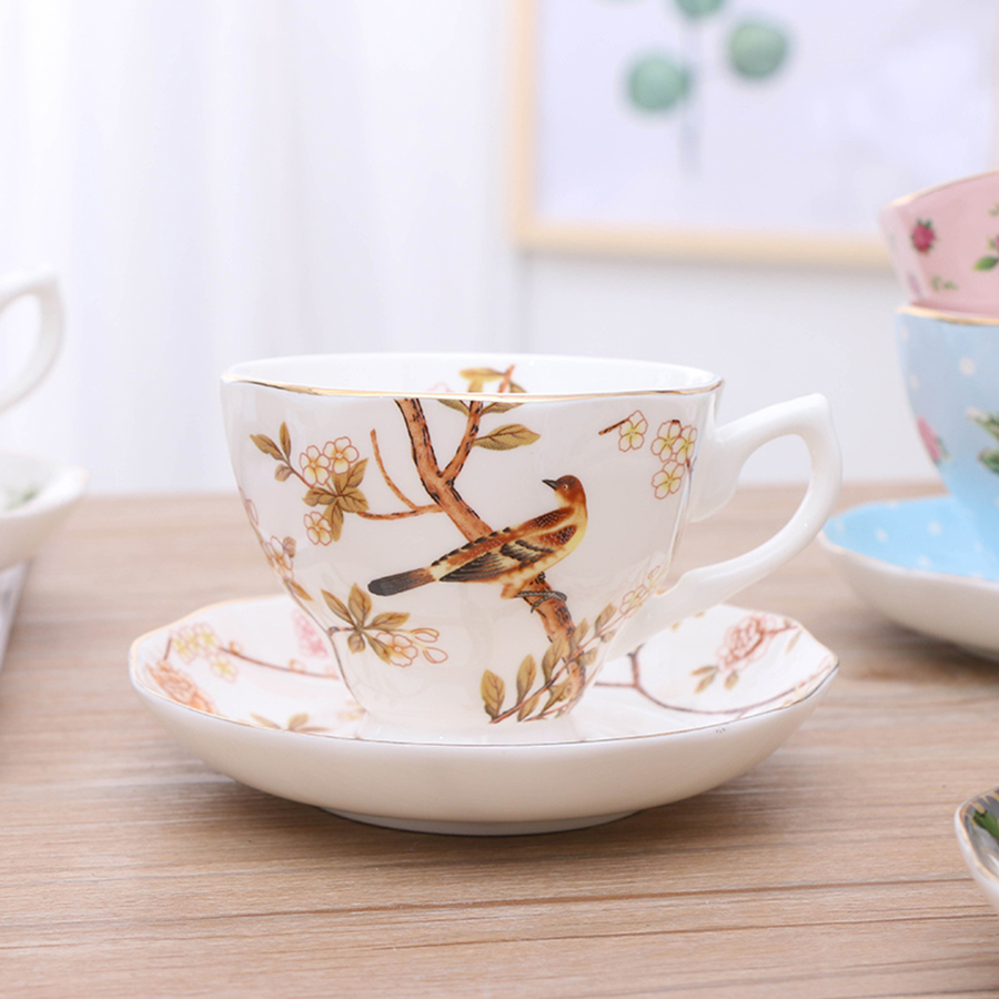 Afternoon Tea Cup Set European Espresso Coffee Cups Bone China Coffee Cup Set Home English Saucer Porcelain Ceramic Cup 50P59