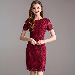 Image 2 - Werk Office zomer lente jurk 2018 nieuwe Kleding vrouwen elegante dames Feestjurk plus size 3xl O hals Pakket heupen Potlood jurk