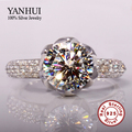 Real Solid 925 Sterling Silver Wedding Rings For Women Romantic Flower Shaped Inlay 3 Carat CZ Diamond Engagement Ring Wholesale