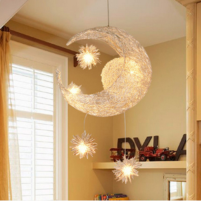 Modern led chandelier lighting moon star sweet bedroom for Hanging bedroom