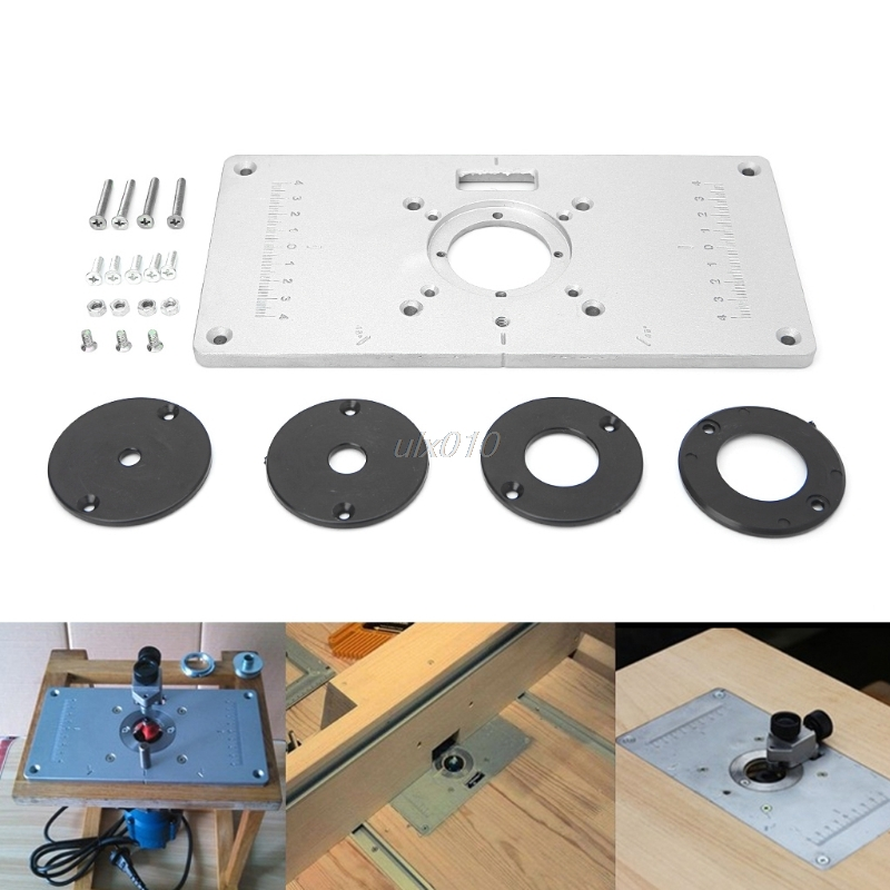 700C Aluminum Router Table Insert Plate For Woodworking Benches with 4pcs Insert Rings Engrving Machine July DropShip aluminum router table insert plate diy woodworking benches for popular router trimmers models engrving machine mayitr