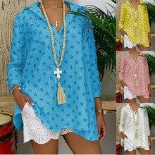 New Arrival Women Star Print Shirt Stand Collar Long Sleeve Tops  Summer Beach Party