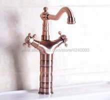 Antique Red Copper Bathroom Vanity Vessel Sinks Mixer Bathroom Basin Sink Faucet Tap Cold And Hot Water Tap Knf128 недорого