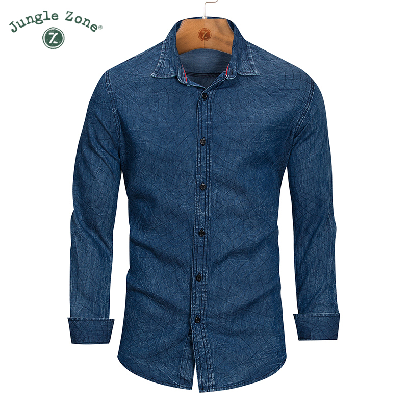 JUNGLE ZONE High quality New Casual Shirt Men 2018 Fashion Long Sleeve Denim Shirt Vintage Plaid Shirt Men Brand Clothes 162
