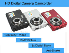 "New 18MP Cheap Compact Digital Camera Still Photo Camera with 2.7"" Screen 1280x720P HD Video,Lithium Battery and 8X Zoom"