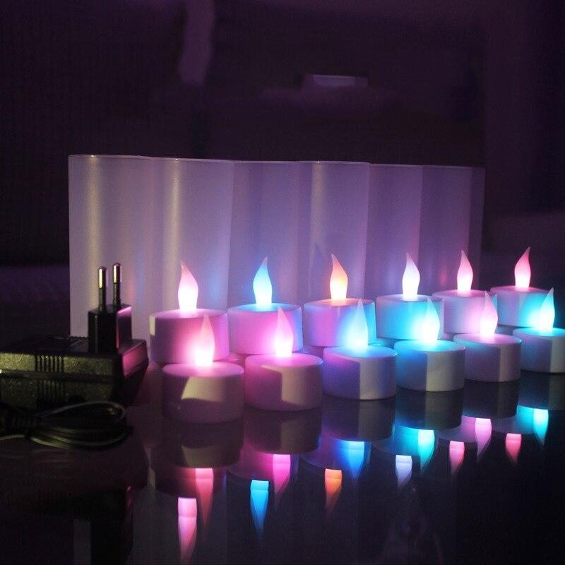Lot de 12 bougies rechargeables Led sans flamme changeantes de couleur pour la fête, bougies électriques blanches pour la fête