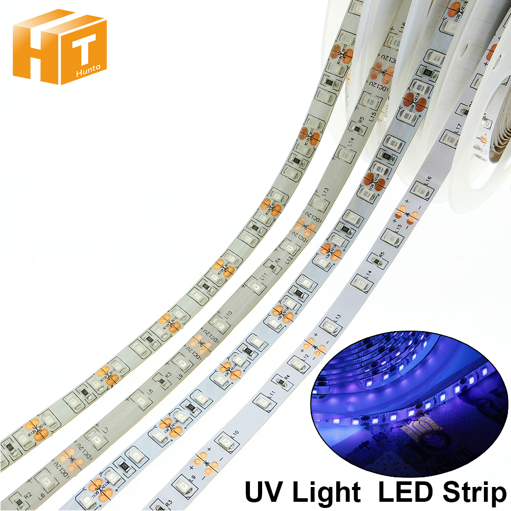 <font><b>UV</b></font> <font><b>LED</b></font> <font><b>Strip</b></font> DC12V Waterproof / No Waterproof 60LEDs 120LEDs /meter 5m/lot Ultraviolet Disinfection <font><b>LED</b></font> Light image