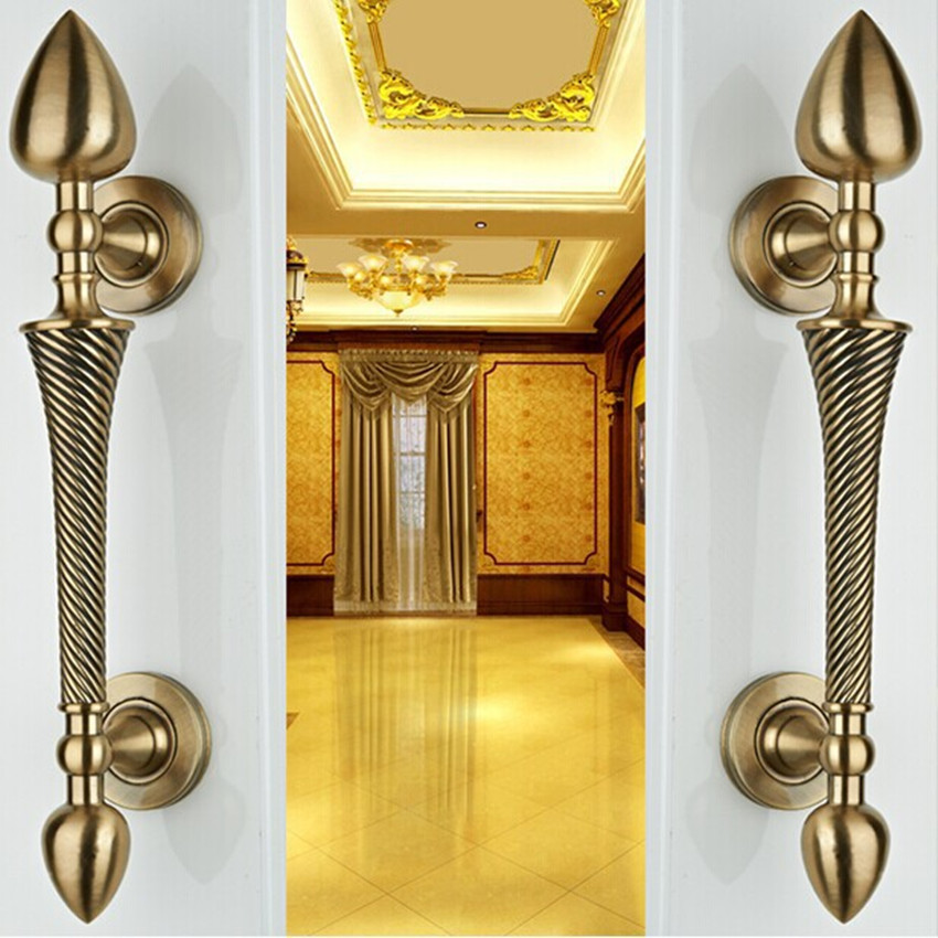 260mm European vintage style wooden door handles bronze / antique brass ktv hotel home big gate door pulls handles solid handles 550mm high quality clear crystal glass big gate door handles stainless steel big gate door handle pulls wooden door pulls