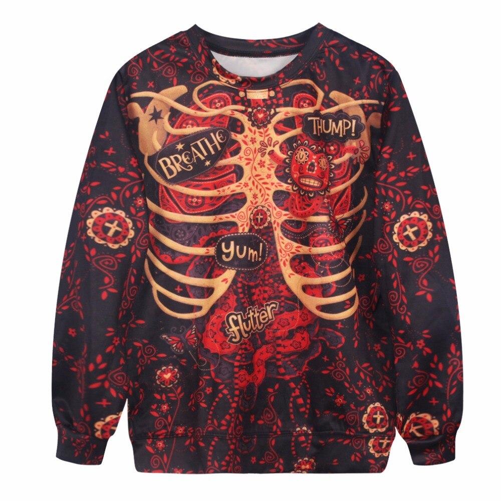 Digital Printing Human body Skeleton Loose Hoodies punk hoodies Men/Womens Tops Hedging hoodies shirts Casual Saia Feminina