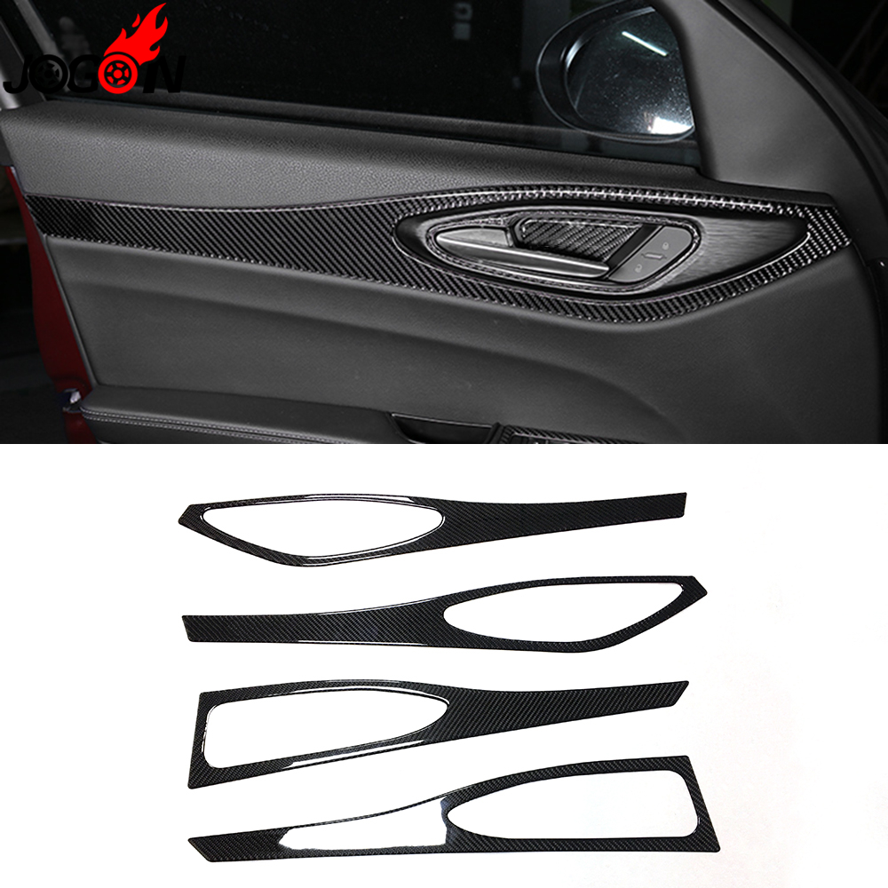 Epoxy Carbon Fiber For Alfa Romeo Giulia 952 2017 2018 Car Styling Interior Door Panel Handle Big Frame Cover Trim