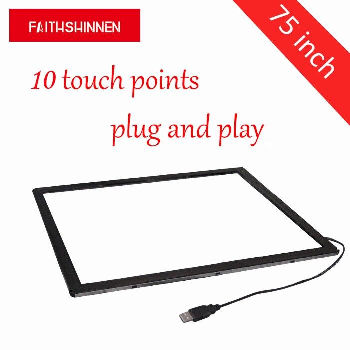 Отличная стабильность 75 дюймов 10 точек Multi сенсорный экран панель/ИК сенсорный экран рамка/USB мультитач панель комплект без стекла