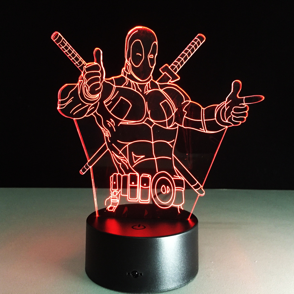 The Avengers Deadpool 3D LED Table Lamp New Super Hero 7 Colors Visual Illusion LED Lights Friends Party Gift Drop Shipping free shipping 1piece new arrive marvel anti hero deadpool figure light handmade 3d bulbing illusion lamp led mood light for kid