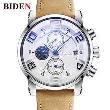 Watches Men BIDEN Quartz Wristwatch 2018 Luxury Brand Relogio Masculino Leather Clock Man Unique Business Men's Watch Waterproof недорого