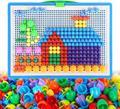 Brinquedos do bebê Criativo Mosaico Colorido Mushroom Prego Ding Children Learning Toy Contas Inserção Puzzle Brinquedos Educativos Para Crianças
