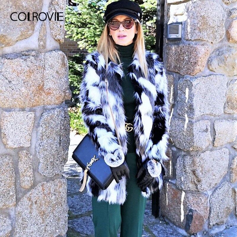 COLROVIE fausse fourrure manteau flou femmes ColorBlock ouvert avant élégant automne manteaux mode hiver à manches longues OL travail manteau survêtement - 5