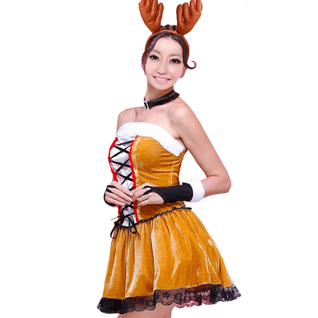 Sexy christmas costumes For Women Reindeer Costumes Christmas Skirt Shoulder-Straps Cosplay Ball Gown Dress Costumes  sc 1 st  Aliexpress & Online Shop Sexy christmas costumes For Women Reindeer Costumes ...