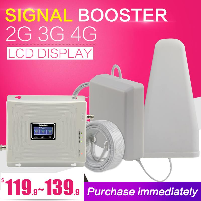 Lintratek GSM DCS WCDMA 900 + 1800 + 2100 Tri-band-handy Signal Booster 2G 3G 4G LTE Cellular Repeater GSM 3G 4G Handy Booster