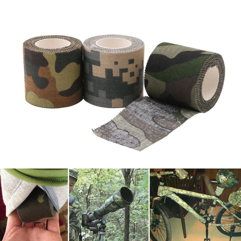 5cmx4.5m Stealth Tape Army Camo Outdoor Hunting Shooting Tool Cycling Tape Waterproof Wrap Durable Camouflage Tape-in Hunting Gun Accessories from Sports & Entertainment