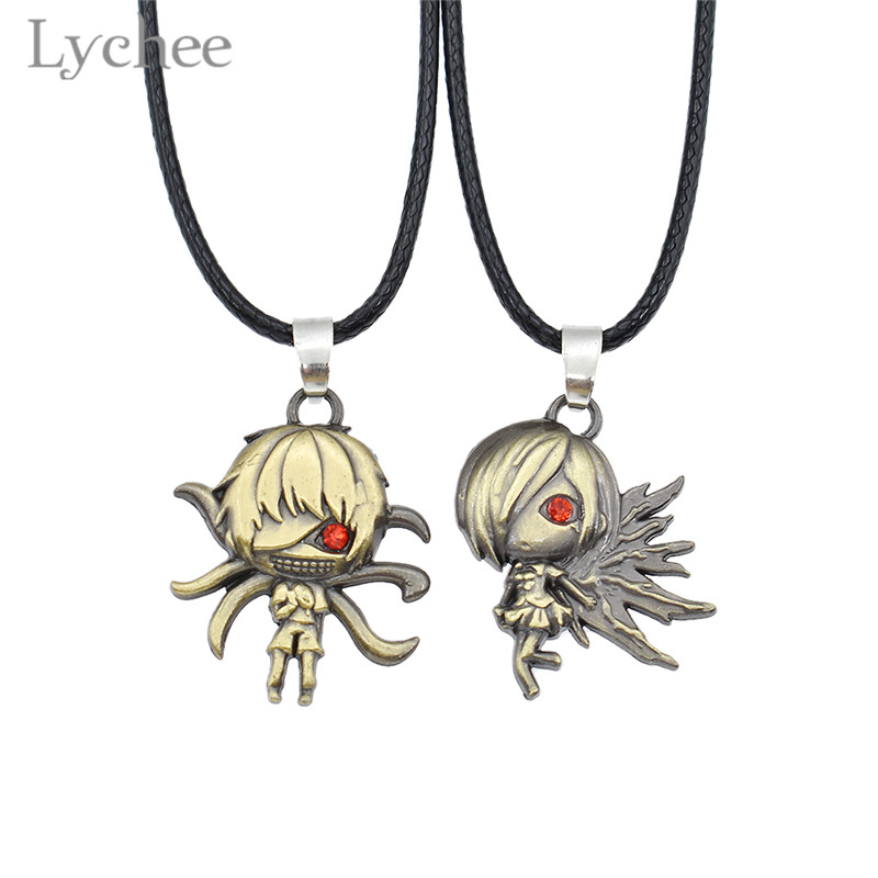 Lychee Trendy Alloy Anime Tokyo Ghoul Couple Necklace Red Crystal Eye Rope Chain Copper Color Lovers' Necklace Jewelry