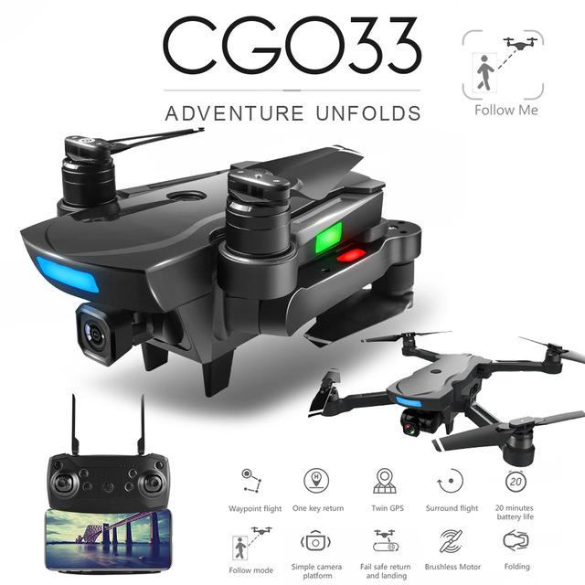 CG033 Brushless FPV Quadcopter With 4K HD Wifi Gimbal Camera RC Helicopter Foldable Drone GPS Drone Kids Gift SG906 F11 Zen K1