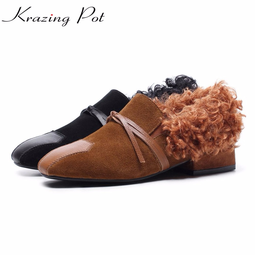 Krazing Pot cow leather cow suede sheep fur shoes woman square toe low heels British school bowtie keep warm winter shoes L70 krazing pot empty after shallow shoes woman lace work flats pointed toe slip on sheep suede causal summer outside slippers l16