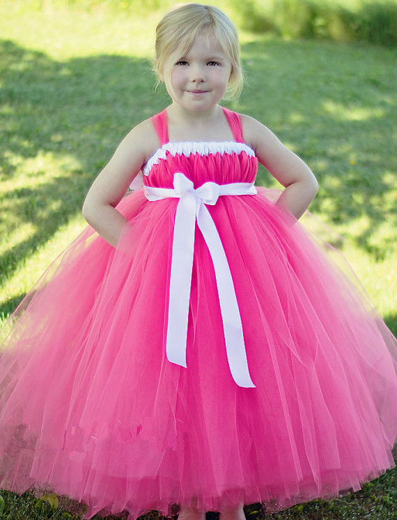 BABY WOW Pink Cheap Flower Girl Dresses for Weddings with Long Train ...