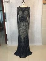vestido de festa High neck Black Mermaid Evening dress with long Sleeve Sl Backless Beadings And Crystals long Prom Dress