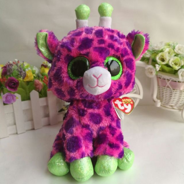 5a73f3c122f 25cm 10inch Ty Beanie Boos Plush Toy Cute Gilbert pink Giraffe MED Stuffed  Animal Soft Kids Toy Birthday Gift Hot Sale