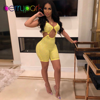 BerryPark Yellow/Pink Colorful Diamond Bodysuit Women Rhinestone Hollow Out Open Front & Sides & Back Bodycon Jumpsuit Wholesale