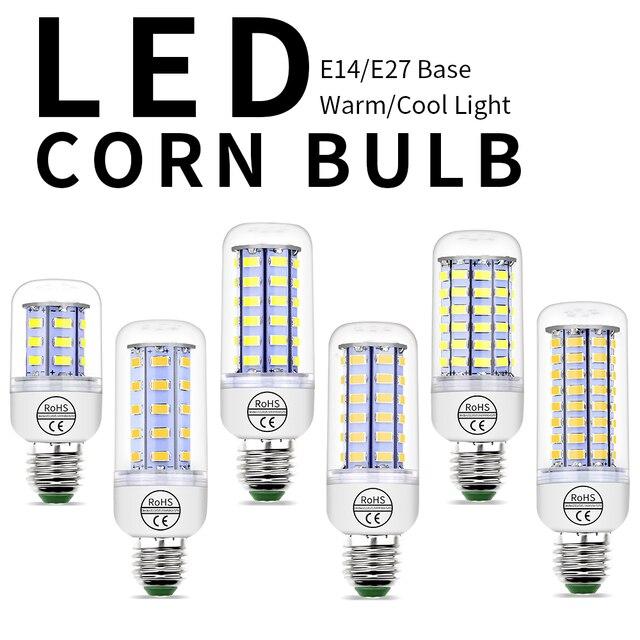 Lampada Led E27 E14 bombilla de maíz 220 V potencia de la lámpara Led de 3 W 5 W 7 W 9 W W 12 W 15 W 18 W casa luz del punto 24 36 48 56 69 72 Leds Bombillas