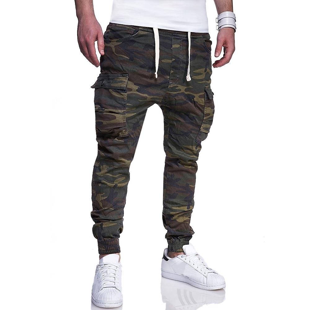 Brand Men Pants Hip Hop Harem Joggers Pants 2018 Male Trousers Mens Frenulum Pants Multi-pocket  Camouflage Pants M-4XL