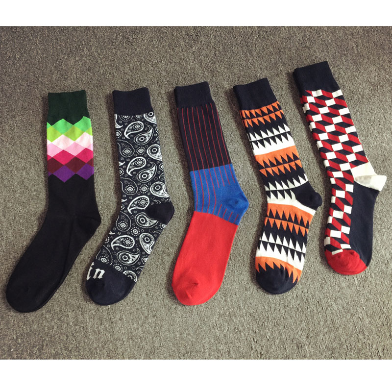 Colour Combed Cotton Happy Socks Men/women British Style Casual Harajuku Designer Fashion Novelty Art For Couple Funny Socks Underwear & Sleepwears