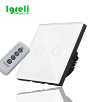 Free Shipping EU Touch Switch Remote Switch White Crystal Glass Switch Panel Wall Light Touch Screen